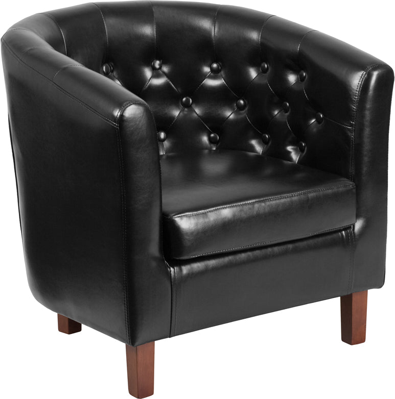HERCULES Cranford Series Black Leather Tufted Barrel Chair