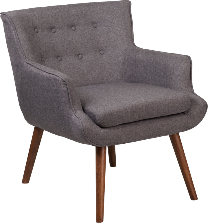 Hayes Series Gray Fabric Tufted Arm Chair