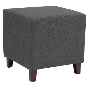 Ascalon Upholstered Ottoman Pouf in Dark Gray Fabric