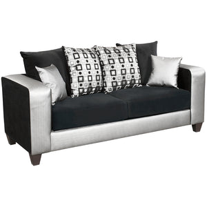 Riverstone Implosion Black Velvet Sofa - RS-4120-06S-GG