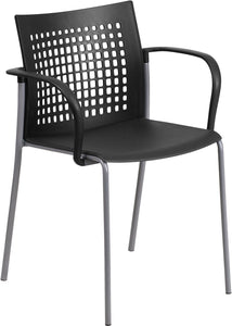 HERCULES Series 551 lb. Capacity Black Stack Chair with Air-Vent Back and Arms - RUT-1-BK-GG