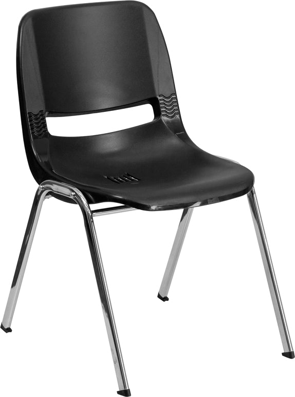 HERCULES Series 440 lb. Capacity Black Ergonomic Shell Stack Chair with Chrome Frame and 14'' Seat Height - RUT-14-BK-CHR-GG