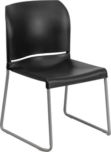 HERCULES Series 880 lb. Capacity Black Full Back Contoured Stack Chair with Sled Base - RUT-238A-BK-GG