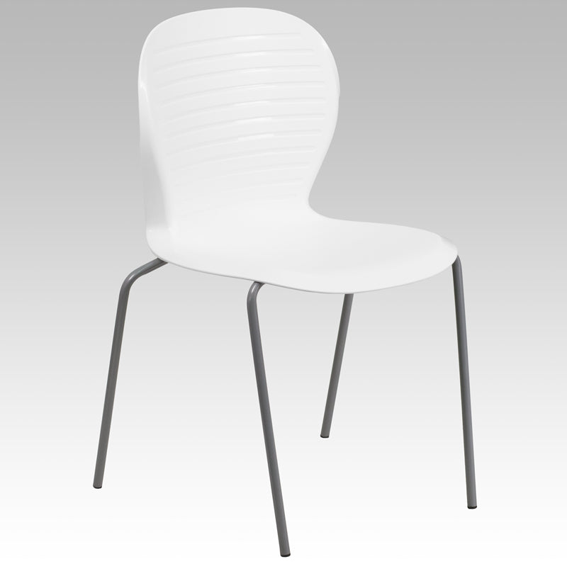 HERCULES Series 551 lb. Capacity White Stack Chair - RUT-3-WH-GG