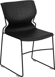 HERCULES Series 661 lb. Capacity Black Full Back Stack Chair with Black Frame - RUT-438-BK-GG