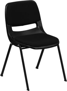 HERCULES Series 880 lb. Capacity Black Ergonomic Shell Stack Chair with Padded Seat and Back - RUT-EO1-01-PAD-GG