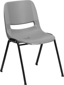 HERCULES Series 880 lb. Capacity Gray Ergonomic Shell Stack Chair - RUT-EO1-GY-GG