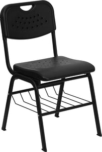 HERCULES Series 880 lb. Capacity Black Plastic Chair with Black Frame and Book Basket - RUT-GK01-BK-BAS-GG