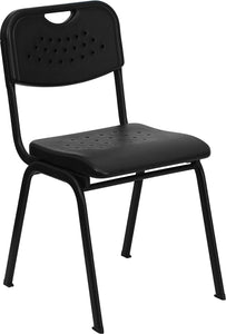 HERCULES Series 880 lb. Capacity Black Plastic Stack Chair with Black Frame - RUT-GK01-BK-GG