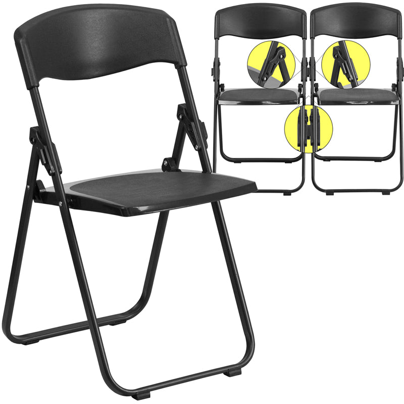 HERCULES Series 880 lb. Capacity Heavy Duty Black Plastic Folding Chair with Built-in Ganging Brackets - RUT-I-BLACK-GG