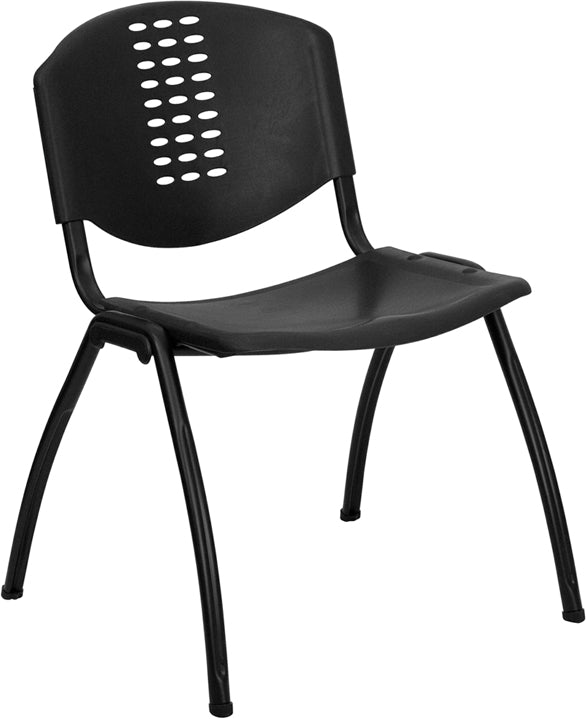 HERCULES Series 880 lb. Capacity Black Plastic Stack Chair with Black Frame - RUT-NF01A-BK-GG