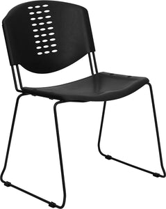 HERCULES Series 400 lb. Capacity Black Plastic Stack Chair with Black Frame - RUT-NF02-BK-GG