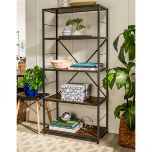 "63"" Rustic Metal and Wood Media Bookshelf - Dark Walnut"