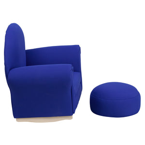Flash Furniture Kids Blue Fabric Rocker Chair and Footrest