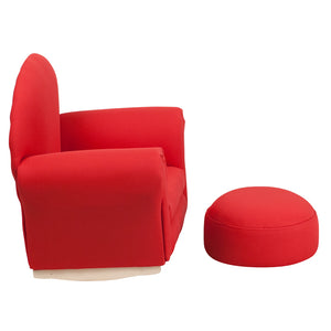 Flash Furniture Kids Red Fabric Rocker Chair and Footrest