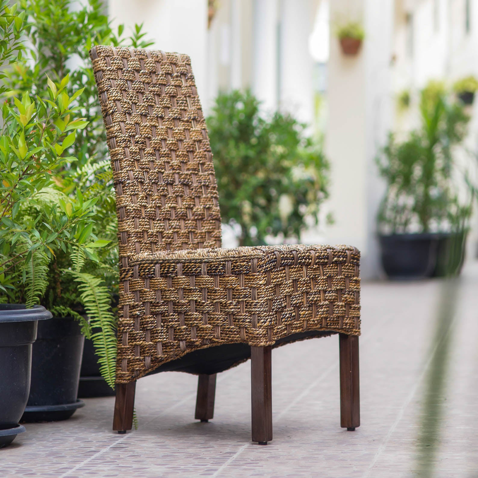 Manila Abaca and Rattan Wicker Basket Weave Dining Chair with Mahogany Hardwood Frame - Salak Brown