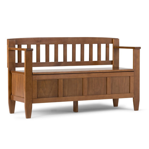 Brooklyn Solid Wood Entryway Storage Bench in Medium Saddle Brown