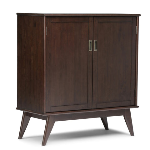Draper Mid Century Solid Hardwood Medium Storage Cabinet in Medium Auburn Brown