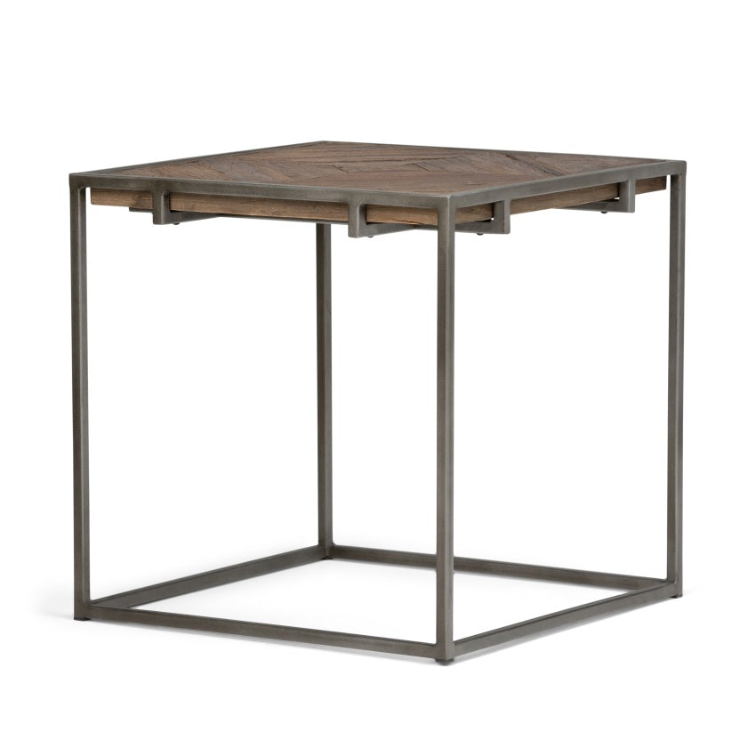 Avery Solid Wood End Table in Distressed Java Brown Wood Inlay
