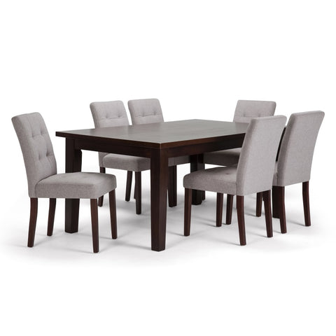 Andover 7 Piece Dining Set in Cloud Grey Linen Look Fabric