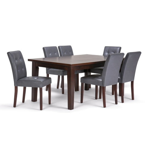 Andover 7 Piece Dining Set in Stone Grey Faux Leather