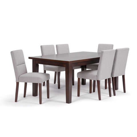 Ashford 7 Piece Dining Set in Cloud Grey Linen Look Fabric