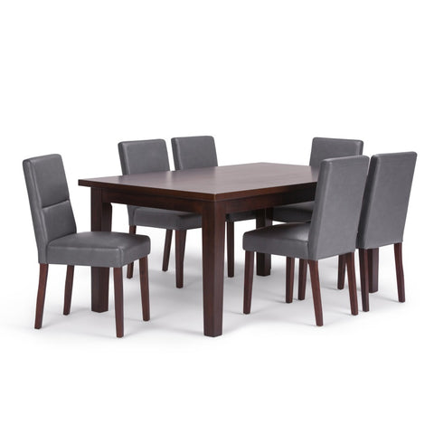 Ashford 7 Piece Dining Set in Stone Grey Faux Leather
