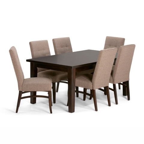 Ezra 7 piece Dining Set in Fawn Brown Linen Look Fabric