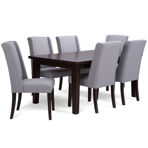Sotherby 7 piece Dining Set in Dove Grey Linen Look Fabric