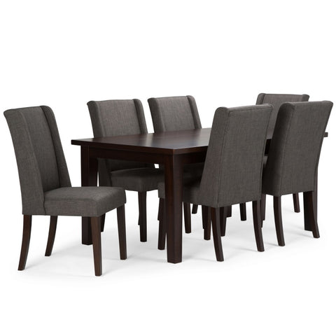 Sotherby 7 piece Dining Set in Slate Grey Linen Look Fabric