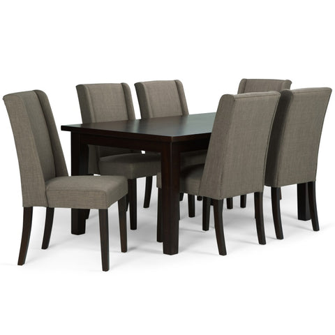 Sotherby 7 piece Dining Set in Light Mocha Linen Look Fabric
