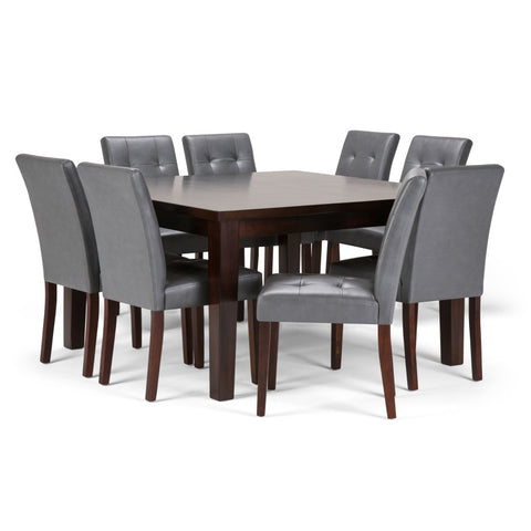 Andover 9 Piece Dining Set in Stone Grey Faux Leather
