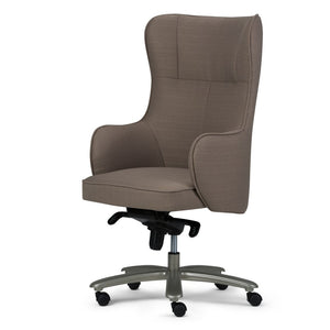 Leeds Wingback Swivel Office Chair in Warm Grey Linen Look Fabric