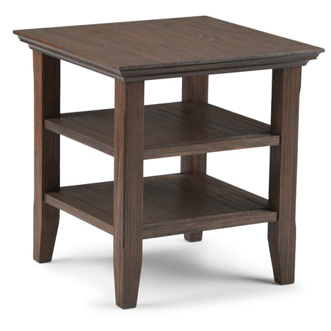 Acadian Solid Wood End Table in Farmhouse Brown
