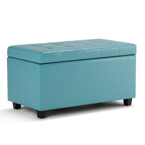 Cosmopolitan Faux Leather Storage Ottoman in Soft Blue