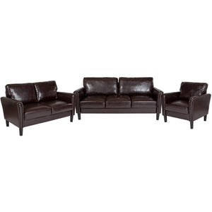Bari 3 Piece Upholstered Set in Brown Leather
