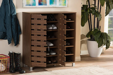 Baxton Studio Shirley Modern and Contemporary Walnut Medium Brown Wood 2-Door Shoe Cabinet with Open Shelves
