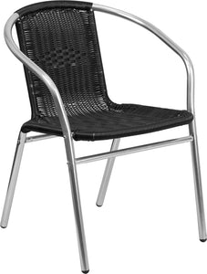 Commercial Aluminum and Black Rattan Indoor-Outdoor Restaurant Stack Chair - TLH-020-BK-GG