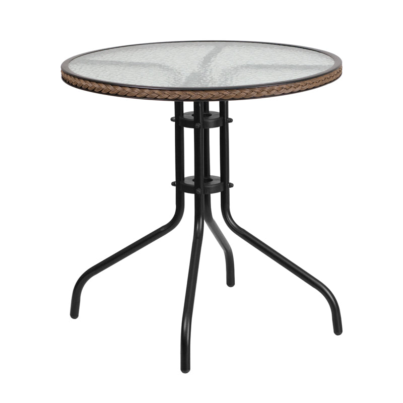 28'' Round Tempered Glass Metal Table with Dark Brown Rattan Edging