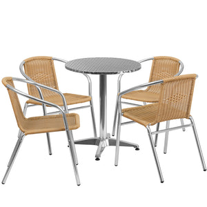 23.5'' Round Aluminum Indoor-Outdoor Table Set with 4 Beige Rattan Chairs