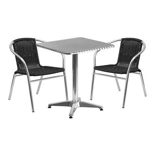 23.5'' Square Aluminum Indoor-Outdoor Table Set with 2 Black Rattan Chairs - TLH-ALUM-24SQ-020BKCHR2-GG