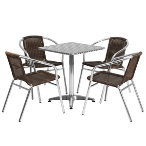 23.5'' Square Aluminum Indoor-Outdoor Table Set with 4 Dark Brown Rattan Chairs - TLH-ALUM-24SQ-020CHR4-GG