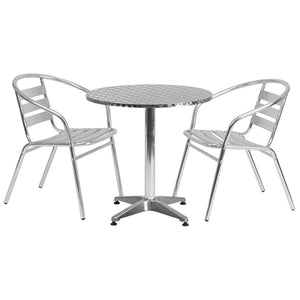27.5'' Round Aluminum Indoor-Outdoor Table Set with 2 Slat Back Chairs - TLH-ALUM-28RD-017BCHR2-GG