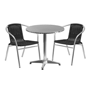 27.5'' Round Aluminum Indoor-Outdoor Table Set with 2 Black Rattan Chairs - TLH-ALUM-28RD-020BKCHR2-GG