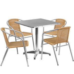 27.5'' Square Aluminum Indoor-Outdoor Table Set with 4 Beige Rattan Chairs - TLH-ALUM-28SQ-020BGECHR4-GG