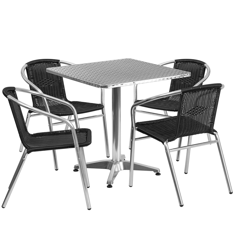 27.5'' Square Aluminum Indoor-Outdoor Table Set with 4 Black Rattan Chairs