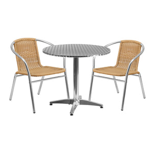31.5'' Round Aluminum Indoor-Outdoor Table Set with 2 Beige Rattan Chairs - TLH-ALUM-32RD-020BGECHR2-GG