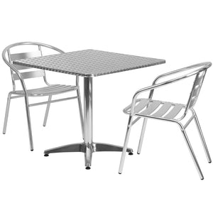 31.5'' Square Aluminum Indoor-Outdoor Table Set with 2 Slat Back Chairs - TLH-ALUM-32SQ-017BCHR2-GG
