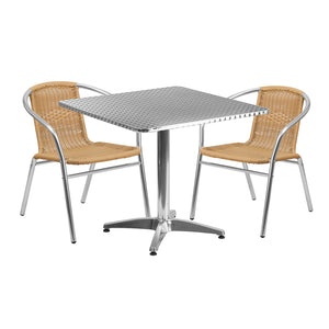 31.5'' Square Aluminum Indoor-Outdoor Table Set with 2 Beige Rattan Chairs - TLH-ALUM-32SQ-020BGECHR2-GG