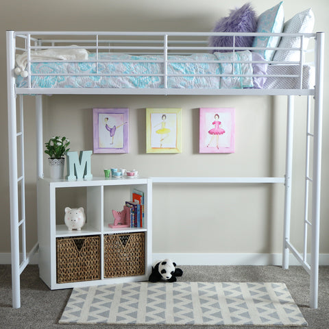 Premium Metal Twin Loft Bed - White
